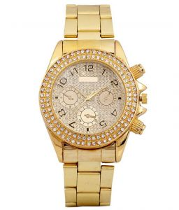 New Golden Analog Super Stylish Wrist Watch For Mens Womens