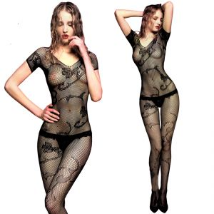 Women's Accessories - Black Lingerie Full Body Stockings Net Halter Fishnet Thigh-Highs Socks Hose (Code - JM BD ST 23)