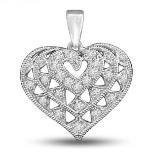 Surat Diamond Fine White Gold Engraved Diamond Heart Pendant For Her P1021