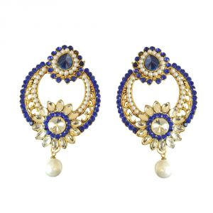 Surat Diamond Round Shaped Floral Blue & White Coloured Stone, Shell Pearl & Gold Plated Chand Bali Earrings Pse22