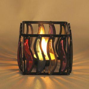 Multi Color Glass Panes Square Wrought Iron Tea Light Holder