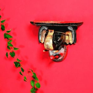 Red And Black Elephant Head Wall Mount With Hook