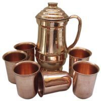 Copper Jug With Six Piece Glass Set Cwjm6