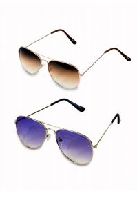 Men And Women Blue And Brown Aviator Sunglass Pack Of 2 Combo