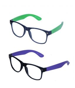 Wayfarer Style Sunglasses - Green & Purple Buy 1 Get 1 Free