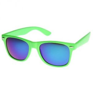 Reflective Color Mirror Lens Neon Color Wayfarers Style Green Sunglasses