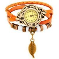 Women's Watches - Vintage Style Ladies Leather Bracelet Watch Orange