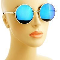 Round Metal Frame Mirror Lens Sunglasses-678910