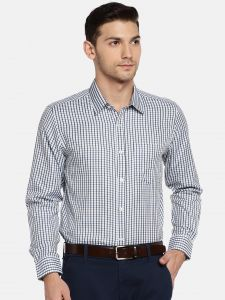Formal Shirts (Men's) - Solemio Men White & Navy Blue Checked Formal Shirt  (Code - A18SH1015ENV)