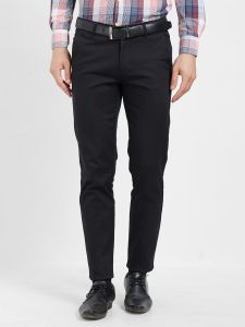 Solemio Cotton Lycra Black Chinos For Mens (code - S19ch1003ebl)