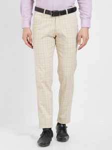 Solemio Beige Cotton Lycra Checks Chinos For Mens (code - S19ch1004ecr)