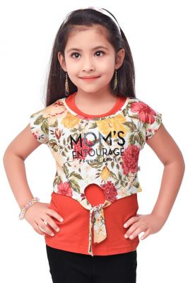 Buy Semi Party Wear Western Sleevesless Top with Separate Half Sleeves Crop Top for Kids - Red by Triki online
