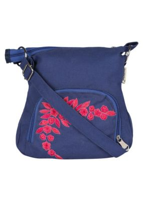 Pick Pocket Canvas Blue Small Sling Bag