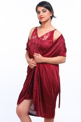Buy Fasense Satin Maroon Two Piece Set Robe & Nighty online