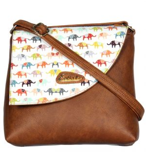 Esbeda Brown Color Graphic Print Pu Synthetic Women's Slingbag