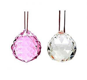 Buy White And Pink Faceted Feng Shui Crystal Ball ( 40 MM ) online