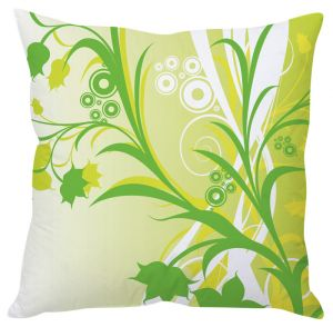 Stybuzz White And Green Floral Abstract Art Green Cushion Cover