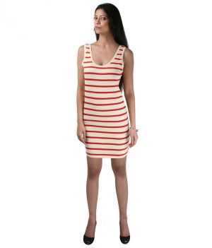 Hypernation Red And White Color Stripped Dress For Women