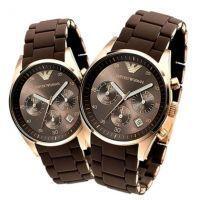 4d11a69a47bdf Buy Imported Emporio Armani Couple, Brown Sportivo Chrono Watches online