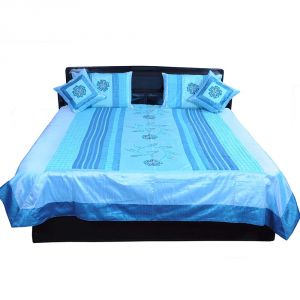 Pioneerpragati 5 Piece Blue Embroidered Silk Double Bed Cover 340-(Product Code-Pgtslk340)