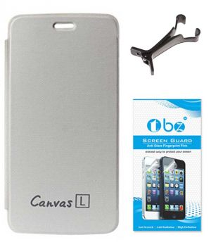 Buy Tbz Flip Cover Case For Micromax Canvas L A108 With Multi Stand Tablet/phone Holder And Screen Guard - White online