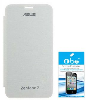 Tbz Flip Cover Case For Asus Zenfone 2 With Tempered Screen Guard -White
