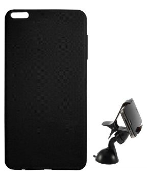 buy online 3c103 3948b Tbz Rubberised Silicon Soft Back Cover Case For Oneplus 5 With Mobile Car  Mount Holder Stand - Black