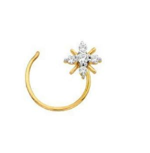 Buy Sheetal Impex Certified 0.10 Ctw Real Natural Round Cut Vs1 Clarity Diamonds 14kt Yellow Gold Nose Pin - Np0003 online