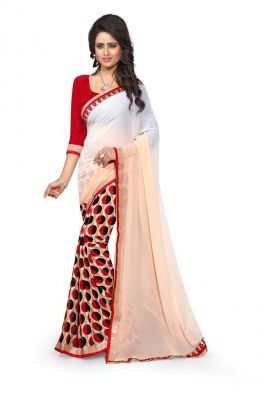 3c06c52030 Buy Sargam Fashion Printed White Georgette Traditional Party Wear Saree.  online