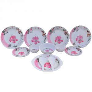 Czar Lifestyles International Ltd White & Pink Melamine 16 Pcs Dinner Set