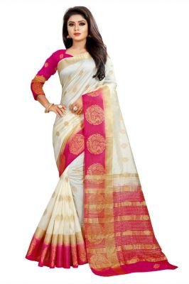 Buy Mahadev Enterprises White And Pink Kanjiwaram Silk Saree With Running Blouse Pics online