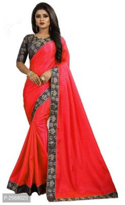Buy Mahadev Enterprise Red Paper Silk Saree With Running Blouse Pic online