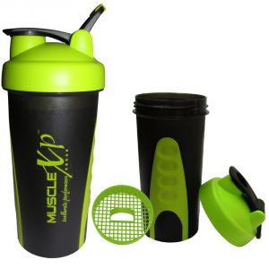 MuscleXP Sporty Gym Shaker (Neon Green And Black) With Strainer 600ml - Design 12