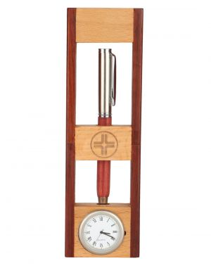 Buy Jl Collections Wooden Camel And Brown Pen Holder With Clock online