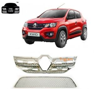 Buy Trigcars Renault Kwid Car Front Grill Chrome Plated online