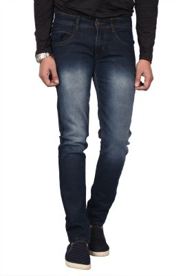Buy Waiverson Slim Fit Men's Dark Blue Shaded Jeans online
