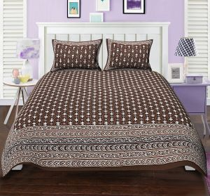 50061f8c50c Buy TEXSTYLERS DOUBLE BED SHEET BAGRU PRINT FLORAL CHAKRA BROWN BLOCK STYLE  DESIGN WITH 2 PILLOW