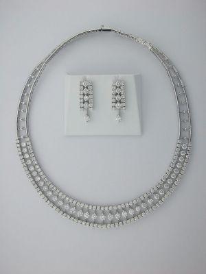 Diamond 14k White Gold Wedding Necklace Set
