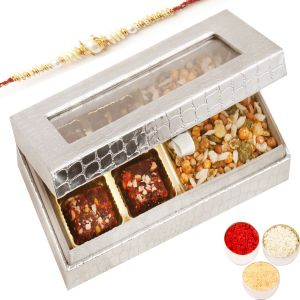 Buy rakhi gifts for abroad silver 4 pcs sugarfree dates and figs rakhi gifts for abroad silver 4 pcs sugarfree dates and figs bites and roasted protein mix box with pearl rakhi negle Image collections