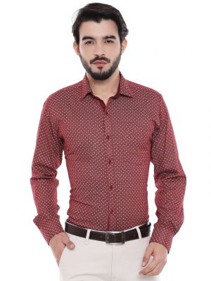 ca2ab394 Buy Solemio Red Cotton Printed Shirt For Mens Online | Best Prices ...