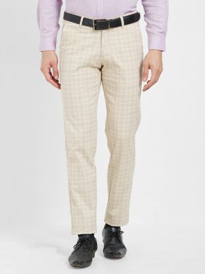 Buy Solemio Beige Cotton Lycra Checks Chinos For Mens online