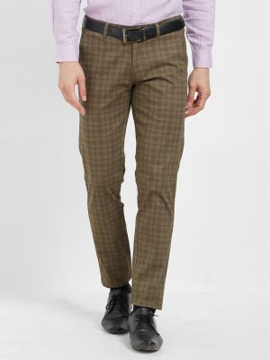 Buy Solemio Brown Cotton Lycra Checks Chinos For Mens online