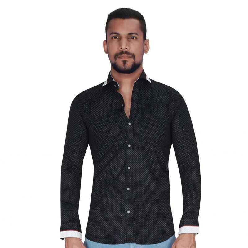 Buy Dobby Weave Black With Grey Print Dot Shirt By Corporate Club (code - Cc - Pp107 - 01) online