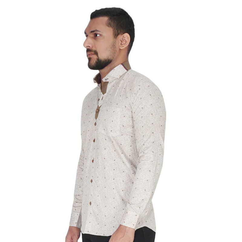 Buy Wood Printed Design On White With Brown Design Shirt By Corporate Club (code - Cc - Pp120 - 07) online
