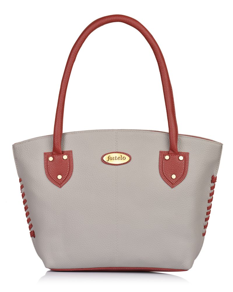 Buy Fostelo Women's Squirrel Grey Maroon Handbag (code - Fsb-1277) online