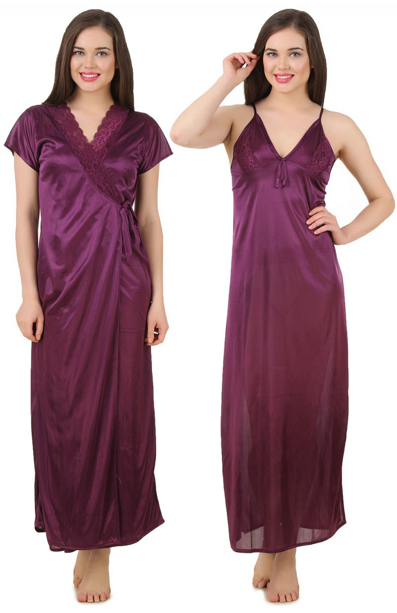 a158df08f5f Fasense Women's Satin Nightwear 2 PCs Set of Nighty & Wrap Gown