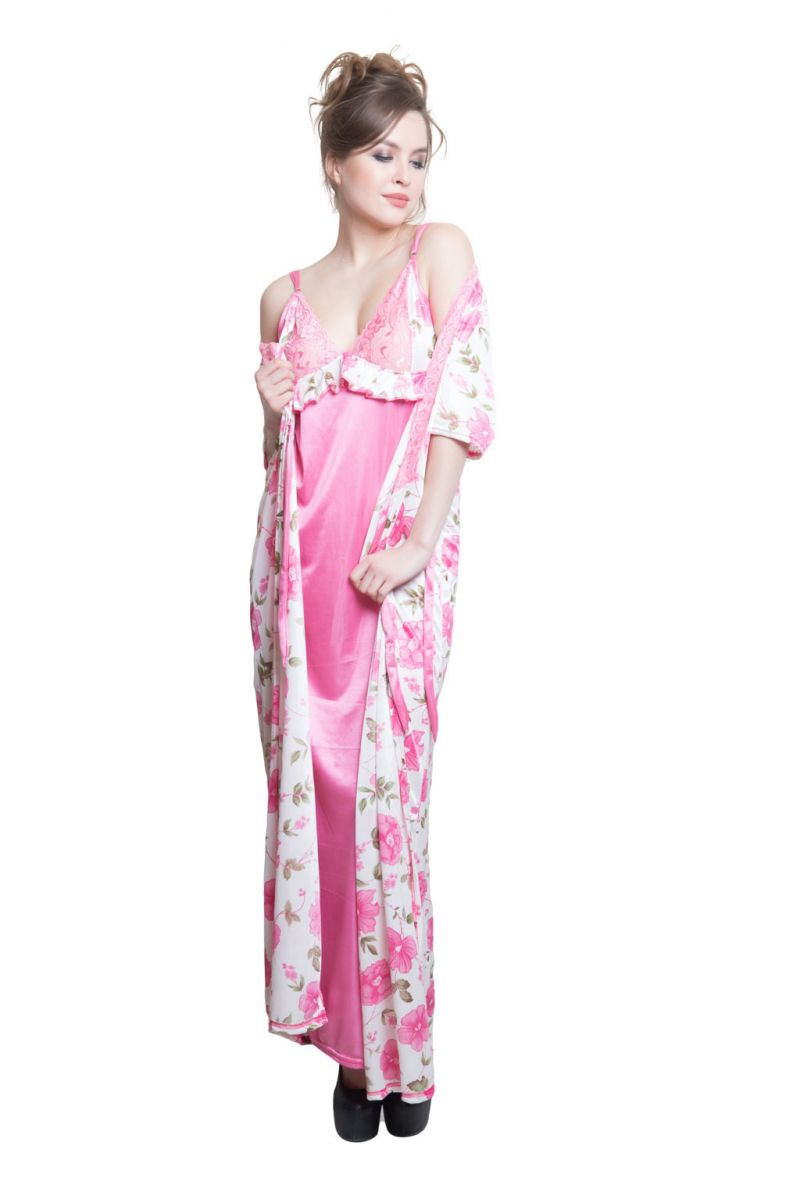 Clovia 2 PCs Printed Satin Nightwear In White And Pink - Robe And Nightie  Code -. 40% 0cc5c0669