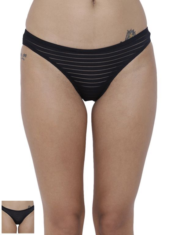 Buy Basiics By La Intimo Women's Travieso Naughty Brief Panty (Combo Pack of 2 ) online
