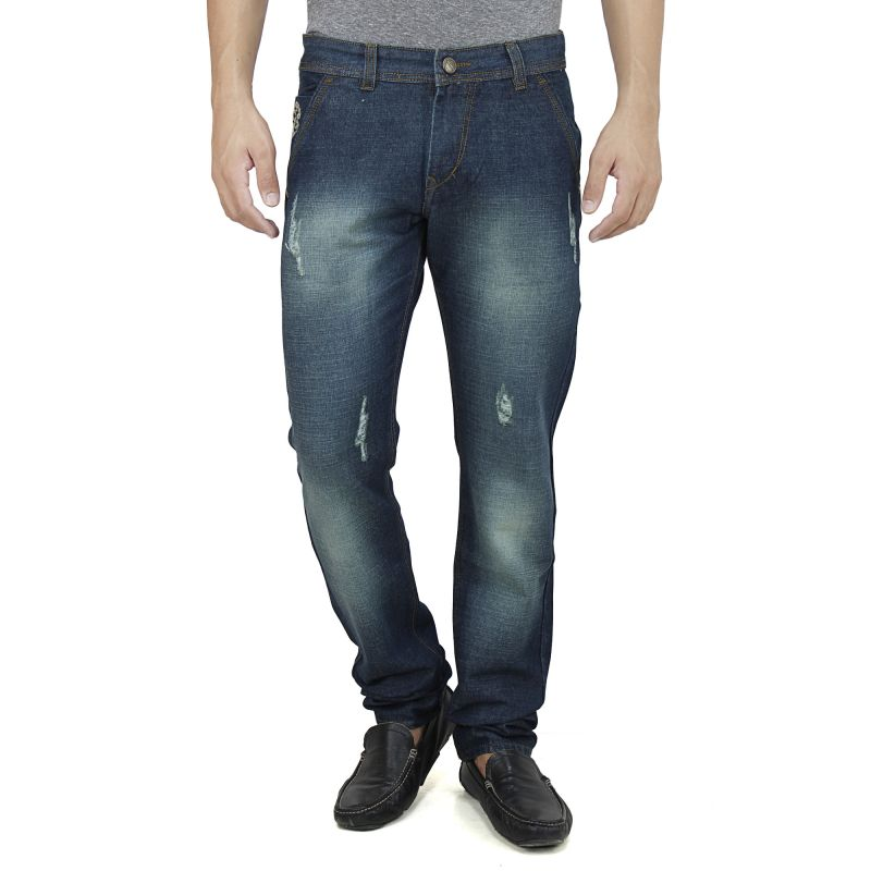 Buy Savon Mens Slim Fit Blue Distressed Denim Jeans For Men With Elegant Embroidery online