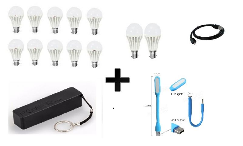Buy Vizio Combo Of 5 W LED Bulbs(set Of 8), 3 W LED Bulbs(set Of 3), 2600 mAh Power Bank With Data Cable USB Light online
